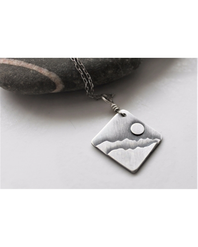 Square Sterling Mountains Pendant