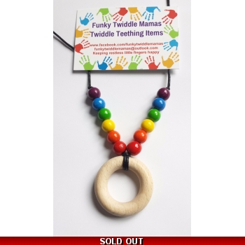 Mini rainbow with buffed beech teether rainbow wood beads simple but very effective