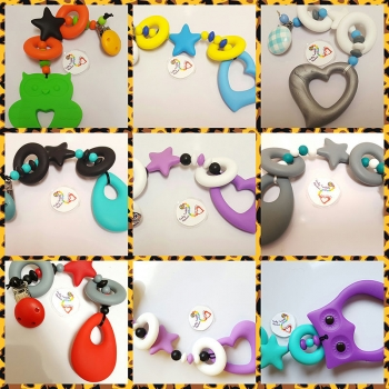 BUILD YOUR OWN BESPOKE choose your colour quad teething clip sling breastfeeding nursing distraction toy CHOOSE YOUR COLOUR AND PENDANT