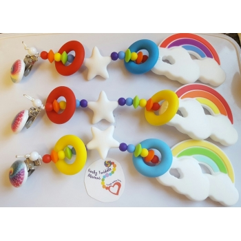 Rainbow clips with a retro feel teething clip silicone sensory