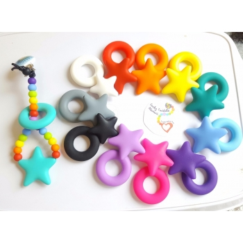rainbow stars teething clip sling breastfeeding nursing distraction toy SILICONE