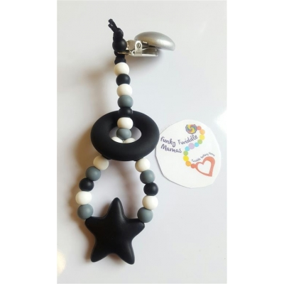 Monochrome stars teething clip sling breastfeeding nursing distraction toy SILICONE