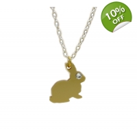 Golden Bunny Rabbit Charm Necklace