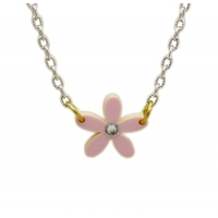 Pink Crystal Daisy Charm Necklace