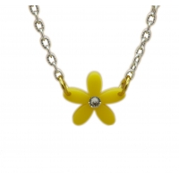 Yellow Crystal Daisy Charm Necklace