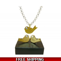 Chirpy Gold Bird Studs and neckla..
