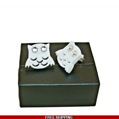 Snowy White And Crystal Owl Studs