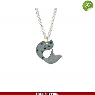 Mermaid tail Bejeweled Charm Necklace