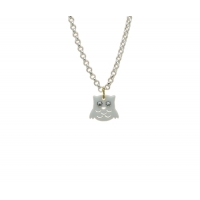 Bejeweled Snowy Owl Charm Necklace