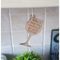 Wine Glass Kitchen motto Sign han..