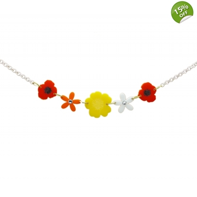 Wild Flower Meadow Charm Necklace