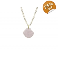 Pearlescent Pink Clam Shell Neckl..