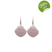 Pearlescent Pink Clam Shell Earri..