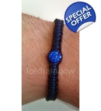 Unisex Black Blue Crystal Twist Bracelet