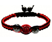 Unisex Black and red Crystal Twist bracelet