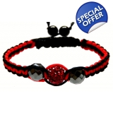 Unisex Black and red Crystal Twist sha..