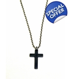 Black Silver Twist Chain Cross necklace
