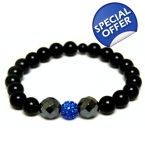 Unisex mens ladies Black grey & blue crystal Bracelet