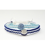 His and hers Blue white shamballa bracelet set