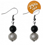 Black Silver Geo Lace earrings