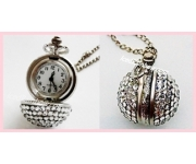 Crystallised Ball Clock Necklace Pendant