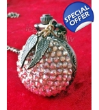 Crystall Ball Pocket Watch Crystallized Golden Snitch Necklace