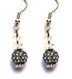 Clear & Grey Crystal Cascade Drop Earrings