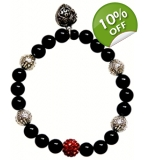 Black Silver and red With Heart charm Bracelet