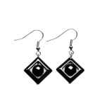 Diamond Shaped Black Grey Gemstone Earrings
