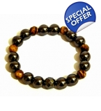 Chunky Mens Grey & Tigers Eye Bracelet
