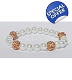 Forever yours Peach Crystal And Pearls Bracelet