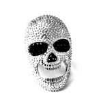 Bella Maschile Statement Crystal Skull Ring
