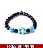 Crystal Sea Blue Skull Bracelet