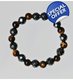 Chunky maschile Tiger eye and hematite Bracelet