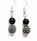Black & Grey Cascade Crystal Drop Earrings