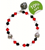 Red brown and clear crystal with heart bracelet