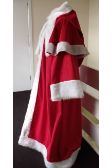 Red Cotton Drill Father Christmas/Santa Claus Robe/Faux Fur edging/full length