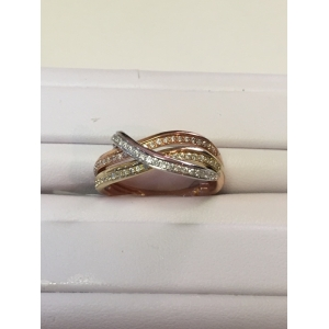 Tri Color Diamond Ring