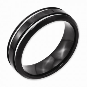 Titanium Black IP-plated Grooved 7mm Band