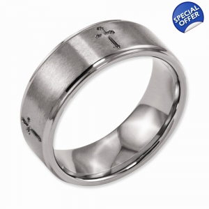 Titanium Ridged Edge Cross 8mm Brushed and Polished Band