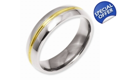 Titanium Yellow IP-plated Grooved 6mm Polished B..