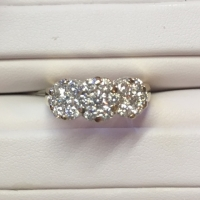 3 Stone Diamond Cluster Ring