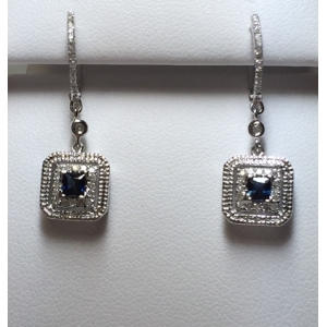 Antique Style Blue Sapphire & Diamond Earrings