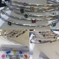 Stackable Bangle w/ Multi Sapphires