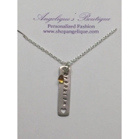 Hand-Stamped Pendant w/ Birthstone