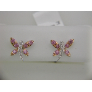 Pink Sapphire Dragonfly Earrings