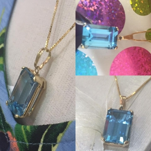 Swiss Blue Topaz Pendant w/ Chain