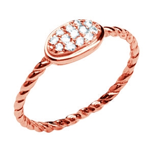 14K Rose Stackable Oval CZ Ring