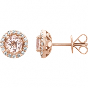 Morganite & Diamond Studs