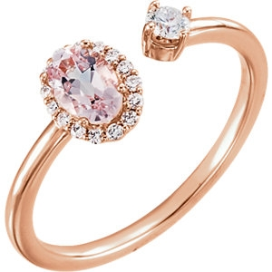 Morganite & Diamond 2 stone ring
